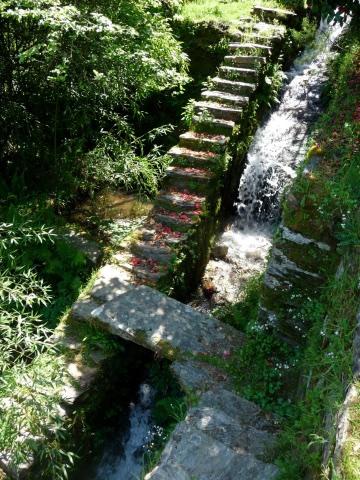 Steps alongside the storm drain