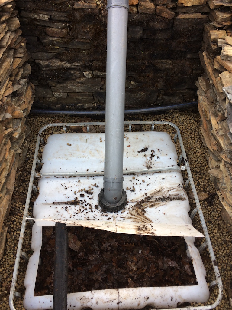 Vermicomposting flush toilet repaired after the fires of October 2017
