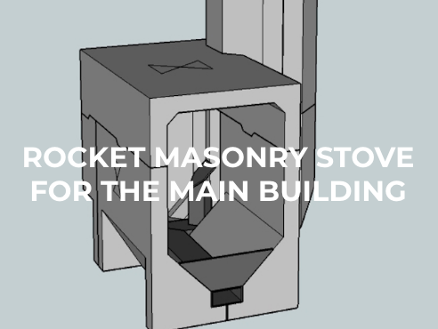 Rocket masonry stove for the main building